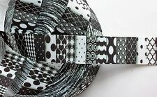 """Black and White Patterns inspired 1"""" Grosgrain Ribbon - By The Yard - USA Seller"""