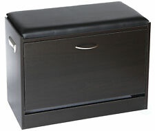 Black Wooden Fold-out Shoe Organizer - Shoe Storage Bench with Leather Cushion