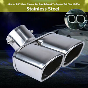 "63mm/ 2.5"" Chrome Stainless Steel Car Dual Exhaust Tip Square Tail Pipe Muffler"