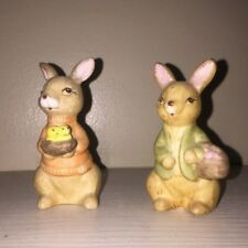 Vintage Precious Bunnies Rabbits Nest of Chicks Egg Gathering Basket Set 3.5""