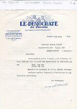Dépt 17 - Rochefort/Mer - Petite Entête Journal le Démocrate des Charentes  1958