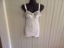NIB 5715  Vintage White Young Smoothie body 34C open bottom girdle w/ 6 garters