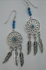 SOUTHWEST STYLE DREAM CATCHER EARRINGS 4 INCHES LONG STERLING EAR WIRES
