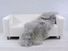 Beautiful real ICELANDIC double sheepskin rug silver/grey dyed D3