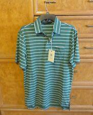 Men's Polo Ralph Lauren golf shirt vintage Lisle green stripe cotton S Nwt 89.50