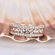 2ct Round Peach Morganite Half Eternity Wedding Band Ring 14k SOLID   Rose Gold