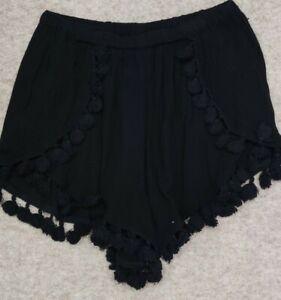Boohoo Black Lightweight Pom Pom Summer Holiday Shorts Size 10