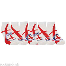 6 Pair Pack of Mens England White Trainer Liners Socks England Supporter