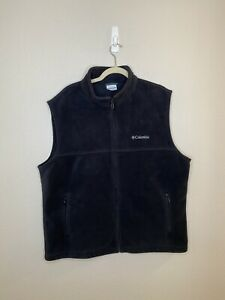 COLUMBIA XL Men's Fleece Vest Black Full Zip w Zippered Pockets Columbia Logo