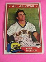 1981 Topps Set Break 300 Paul Molitor Milwaukee Brewers NmMt Good centering
