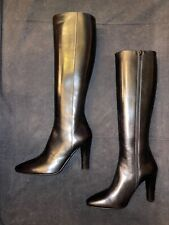 New SAINT LAURENT YSL Lily 95 $1395 Black Leather Knee High Boots size 37 / 7