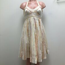 Anthropologie Maeve Womens Halter Dress White Geometric Self Tie Cotton XS 2