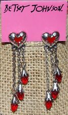 BETSEY JOHNSON LOVE HURTS SILVER HEART BLOOD RED FACETED CRYSTAL EARRINGS NEWAG