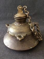 VINTAGE EASTERN BRASS INKWELL 8cm TALL ENGRAVED w/ CHAINED LID