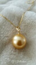 16mm South Sea Shell Yellow Gold Pearl pendant 18k gold over silver w/ tiny CZ