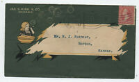 1899 allover color ad cover Jas. S. Kirk Co. Chicago girl blowing bubbles [y4055