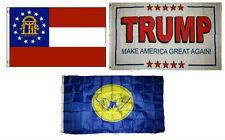 3x5 Trump White #2 & State of Georgia & City of Atlanta Wholesale Set Flag 3'x5'