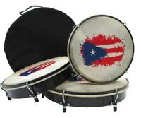 Ethnic Plenera Drum Set of 3 with Puerto Rican Flag Art and Carrying Bag