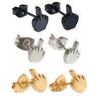 New Men Women Fancy Punk Cool Stainless Steel Finger Hand Ear Studs Earrings