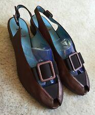 Women's Thierry Rabotin Bronze Slingback Wedge Sandals Shoes  37.5 / 7 M  $425