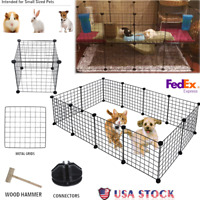 Metal 12 panels Tall Dog Playpen Crate Fence Pet Kennel Play Pen Exercise Cage
