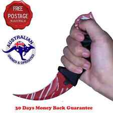 NEW  KARAMBIT NECK KNIFE Survival Hunting Fixed Blade+Sheath Red Tiger Tooth