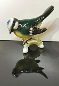 9942956-ds Wagner&Apel Porcelaine Figurine Oiseaux Mésange Bleue H8cm