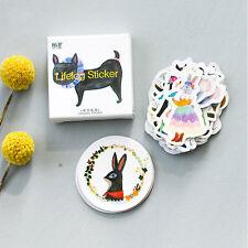 45pcs/lot DIY Cute Animal Cat Rabbit Fox Sticker Lovely Animal Diary Stickers