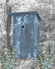 Blue Gray Home Decor Vintage Outhouse Privy Wall Art Photo Print Matted Picture