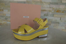 MIU Taille 38,5 sandales Plateformes Chaussures Vernis ananas argent