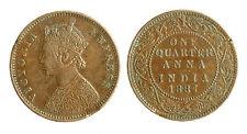 pcc1797_17) INDIA   Queen Victoria - One 1 Quarter Anna  1887