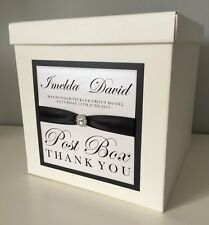 Diamante Circle Embellishment & Ribbon Personalised Wedding Post Box