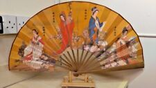 Oriental Chinese Display Fan Four Beauties Ladies With Stand
