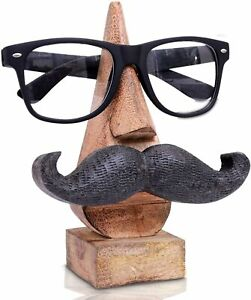 Wood Carved Black Mustache Eyeglasses/Spectacle Holder, Sunglass Stand (BROWN)