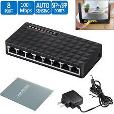 10/100 Mbps 8 Port Fast Ethernet LAN Desktop RJ45 Network Switch Hub Adapter