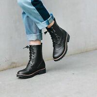 Retro Womens Casual Wing Tip Combat Ankle Boots Low Block Heel Lace Up Shoes