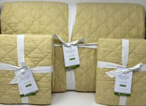 Pottery Barn Belgian Flax Linen Diamond KING Quilt & 2 EURO Sham Daffodil Yellow