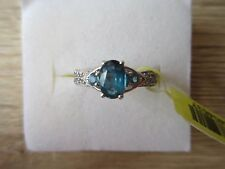 Teal Kyanite White Topaz Accent Ring Platinum Over Sterling Sz 6,7,8,9 Opt