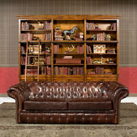 """91"""" Sofa  Restoration Style Vintage Cigar Bycast Leather Tufted Chesterfield"""