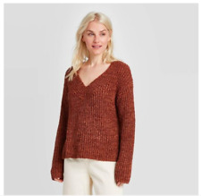 Women's V-Neck Pullover Sweater - A New Day Brown Size XXL