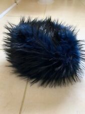 Women's Faux fur hat Blue Black Bnwt