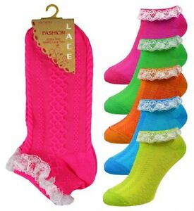 Ladies/Girls Neon Frilly Lace Trim Ankle Trainer Liner Socks Fancy DressSize 4-8