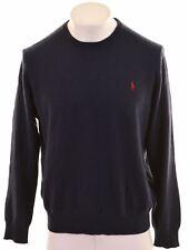 POLO RALPH LAUREN Mens Crew Neck Jumper Sweater XL Navy Blue Wool  GW05