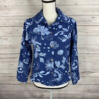 Fresh Produce Womens Button Front Shirt Light Jacket Size Small Blue Floral