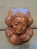 Indonesia Bali carved teak wood man figurine yogi meditating
