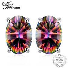 1.5ct Women Fashion Genuine Natural Fire Rainbow Mystic Topaz Earrings Stud Oval