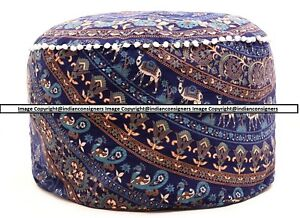 Animal Print Cotton Beautiful Design Indian Handmade Ottoman Footstool Cover Art