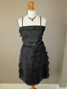 OASIS Ladies Black Silk Ruffle Layer Dress Beaded Belt Removable Straps Size 8