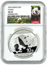 2016 China 10 Yuan 30g Silver Panda - NGC MS70 (Panda Label) SKU43222