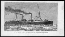 1882 Antique Print - Steam Boat Invicta London Chatham Dover Railway Company (28